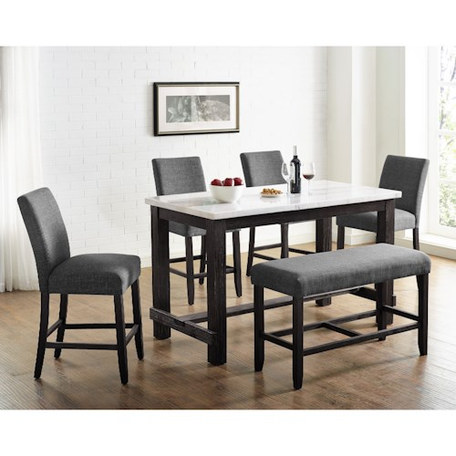 Crown Mark Hemlock Transitional 6-Piece Dining Set with Bench