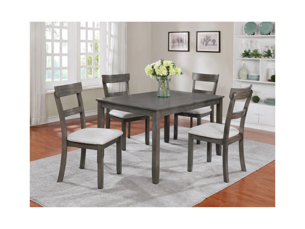 Crown Mark Henderson 5 Piece Dining Table and Chair Set ...