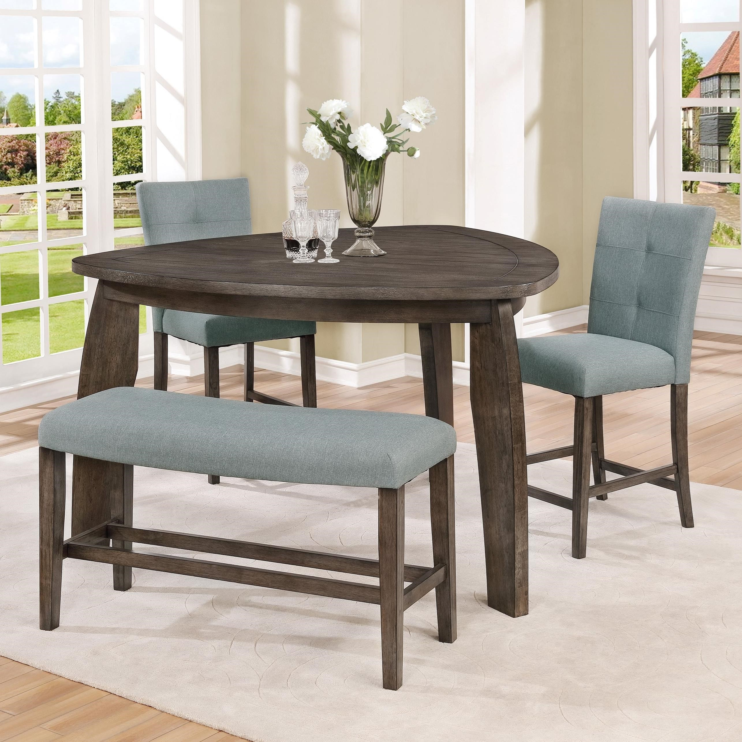Crown Mark Hollis 3 Piece Counter Height Dining Set With Triangle Table
