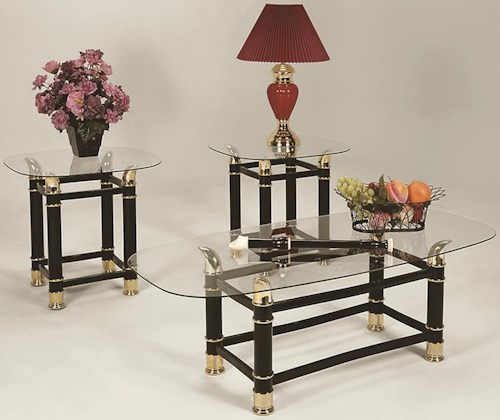 Crown Mark Horn 3 Pack Cocktail Table and End Tables Set