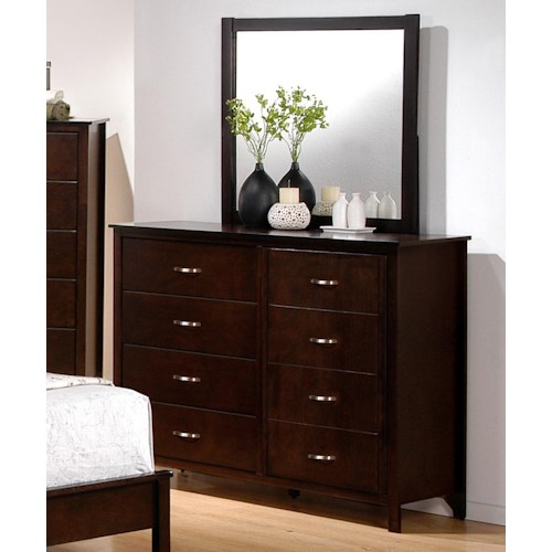 Crown Mark Ian 8 Drawer Dresser and Mirror Combination