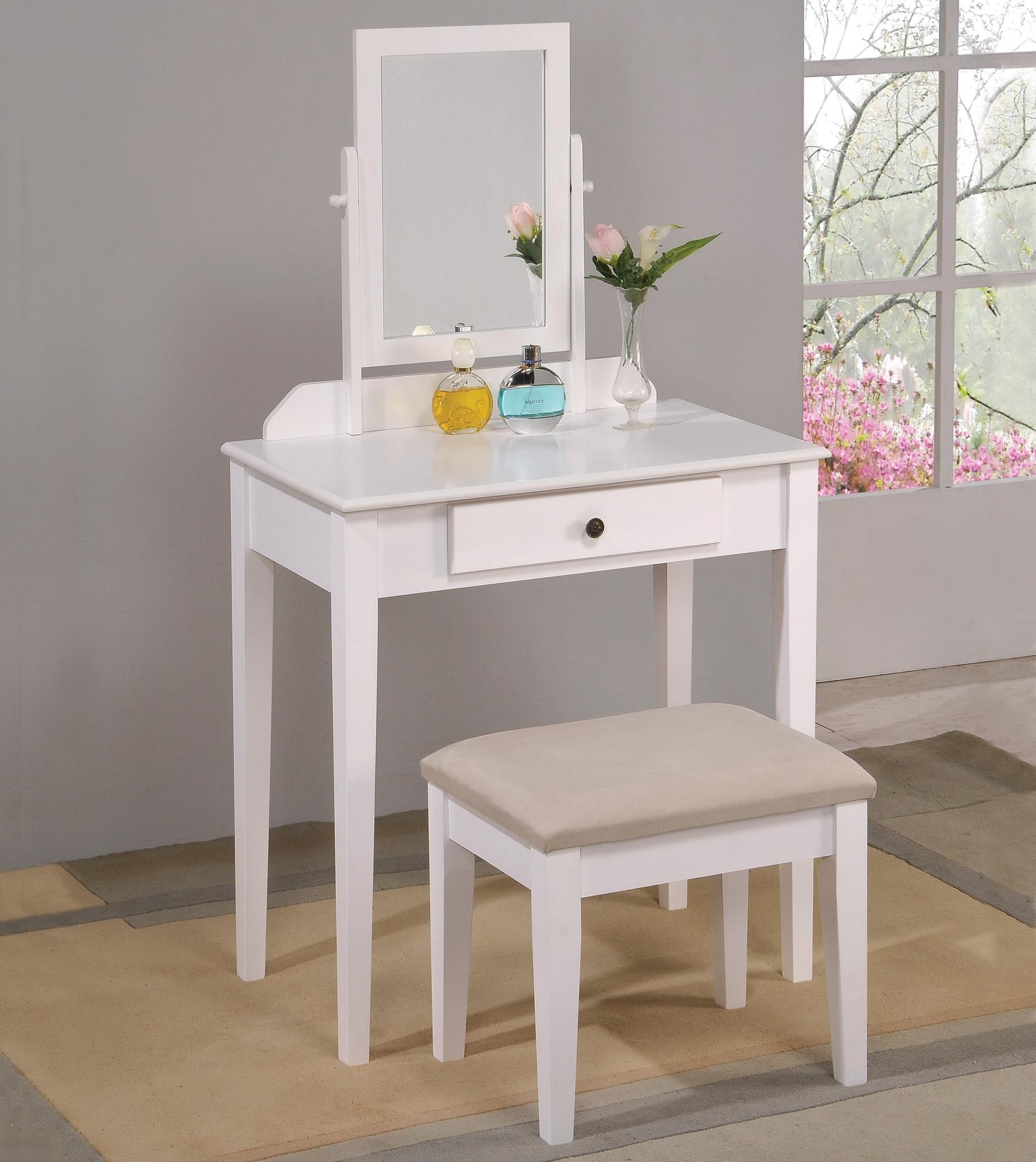 Transitional Vanity Table & Stool