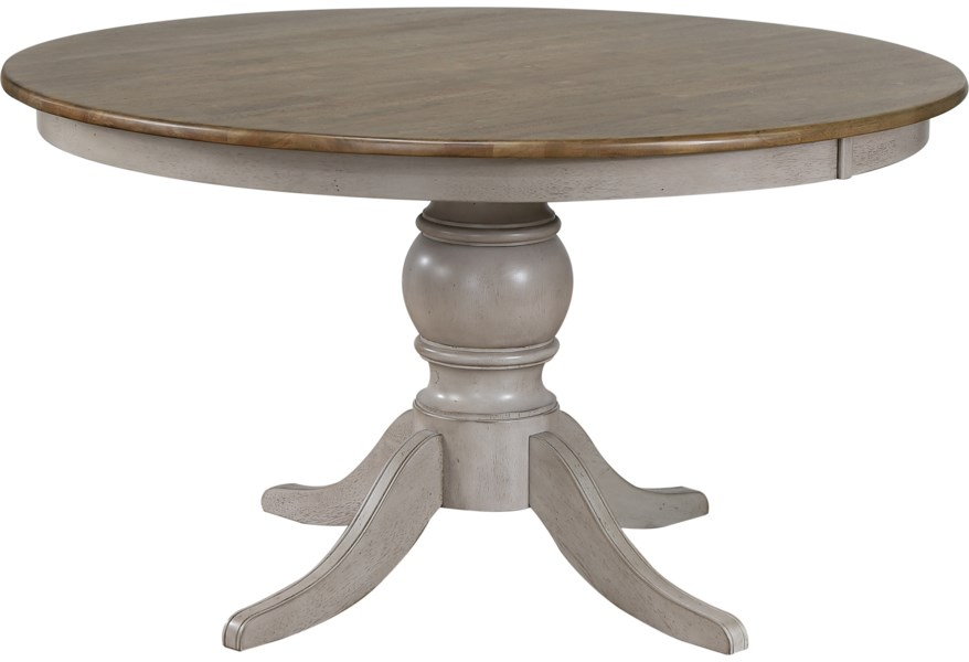 Crown Mark Jack Relaxed Vintage Round Pedestal Dining Table With Antique Finish Wayside Furniture Kitchen Tables