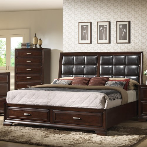 Crown Mark Jacob Queen Upholstered Bed with Storage Footboard