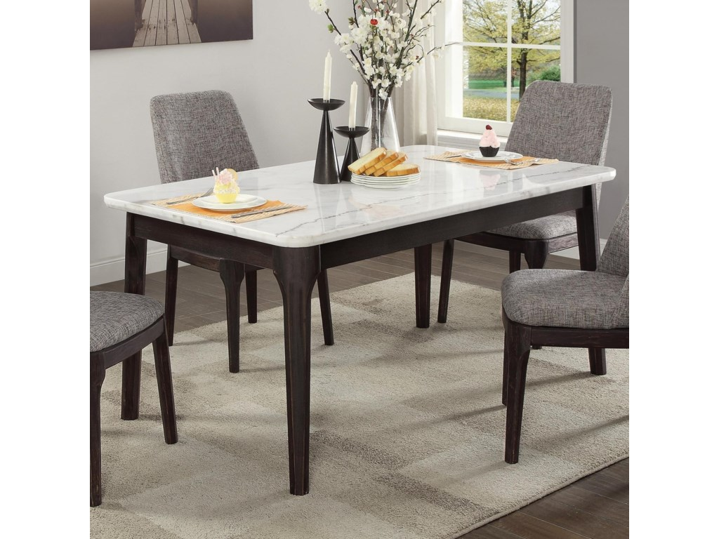 Crown mark janel 2268t 3864 mid century modern dining table with faux marble top household furniture dining tables