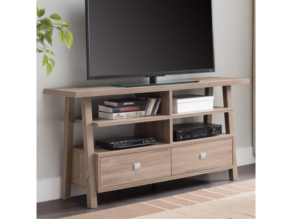Crown Mark Jarvis Transitional Tv Stand With Metal Drawer Pulls