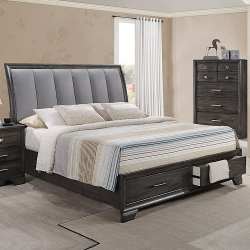 Crown Mark Jaymes Queen Storage Bed With Upholstered Headboard