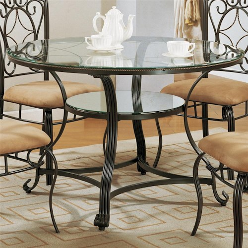 Crown Mark Jessica Dinette Table with Glass Top and Glass Shelf