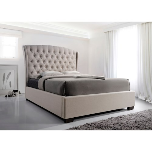 Crown Mark Kaitlyn Upholstered Queen Headboard and Footboard Bed