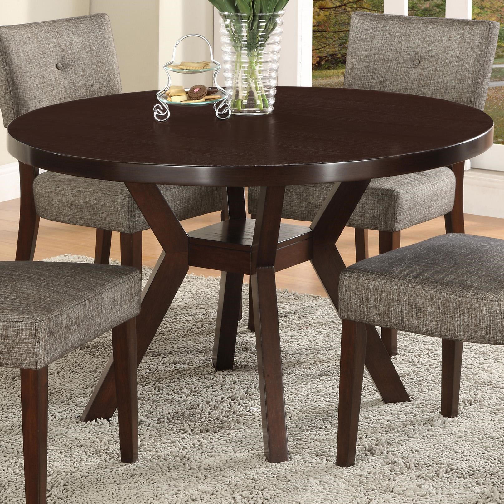 48 dining table natural wood crown mark kayla round trestle base dining table lindys furniture