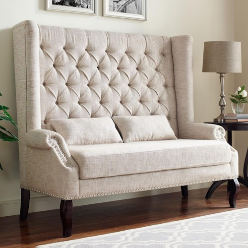 Crown Mark Kaylee Traditional Wingback Settee with Diamond Tufting