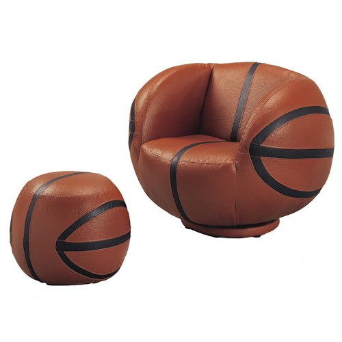 Crown Mark Kids Sport Chairs Basketball Swivel Chair & Ottoman