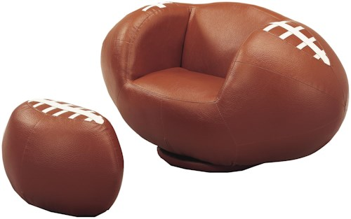 Crown Mark Kids Sport Chairs Football Swivel Chair & Ottoman