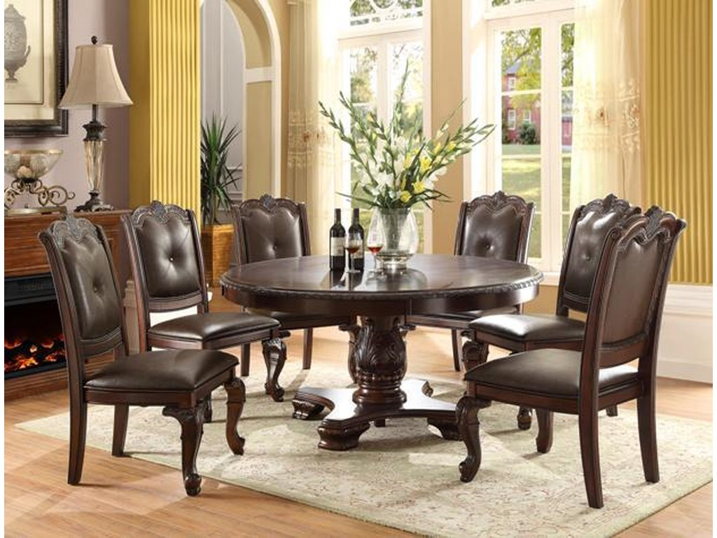 Crown Mark Kiera Traditional Round Table With Six Side Chairs