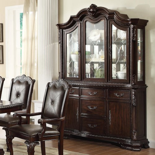 Crown Mark Kiera Traditional Buffet and Hutch with Glass Doors