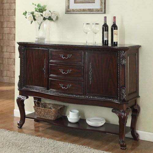 Crown Mark Kiera Side Board with Finely Detailed Cabriole Legs