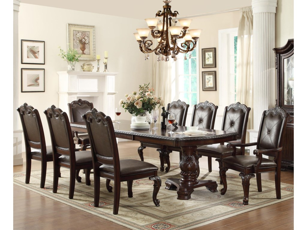 Kiera Traditonal Dining Table Set With 2 Arm Chairs And 6 Side By Crown Mark