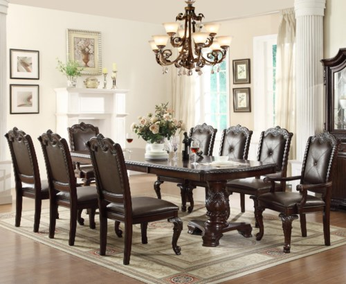 Awesome Crown Mark Kiera Traditonal Dining Table Set with 2 Arm Chairs and 6 Side Chairs For Your House - Style Of dining room table and chair sets Simple Elegant