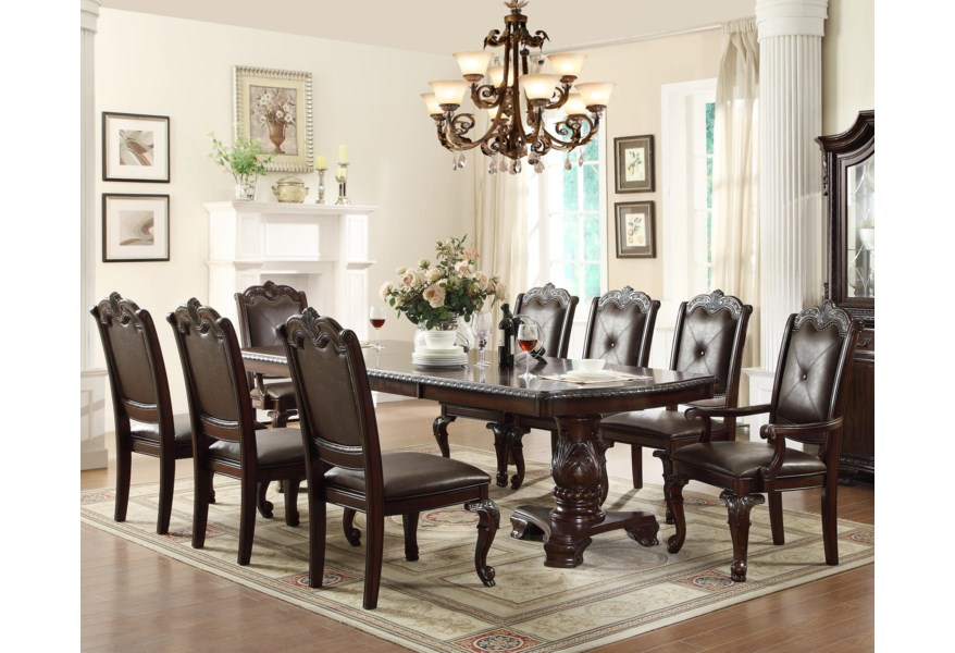Belfort Essentials Kiera Traditonal Dining Table Set With 2 Arm Chairs And 6 Side Chairs Belfort Furniture Dining 7 Or More Piece Sets