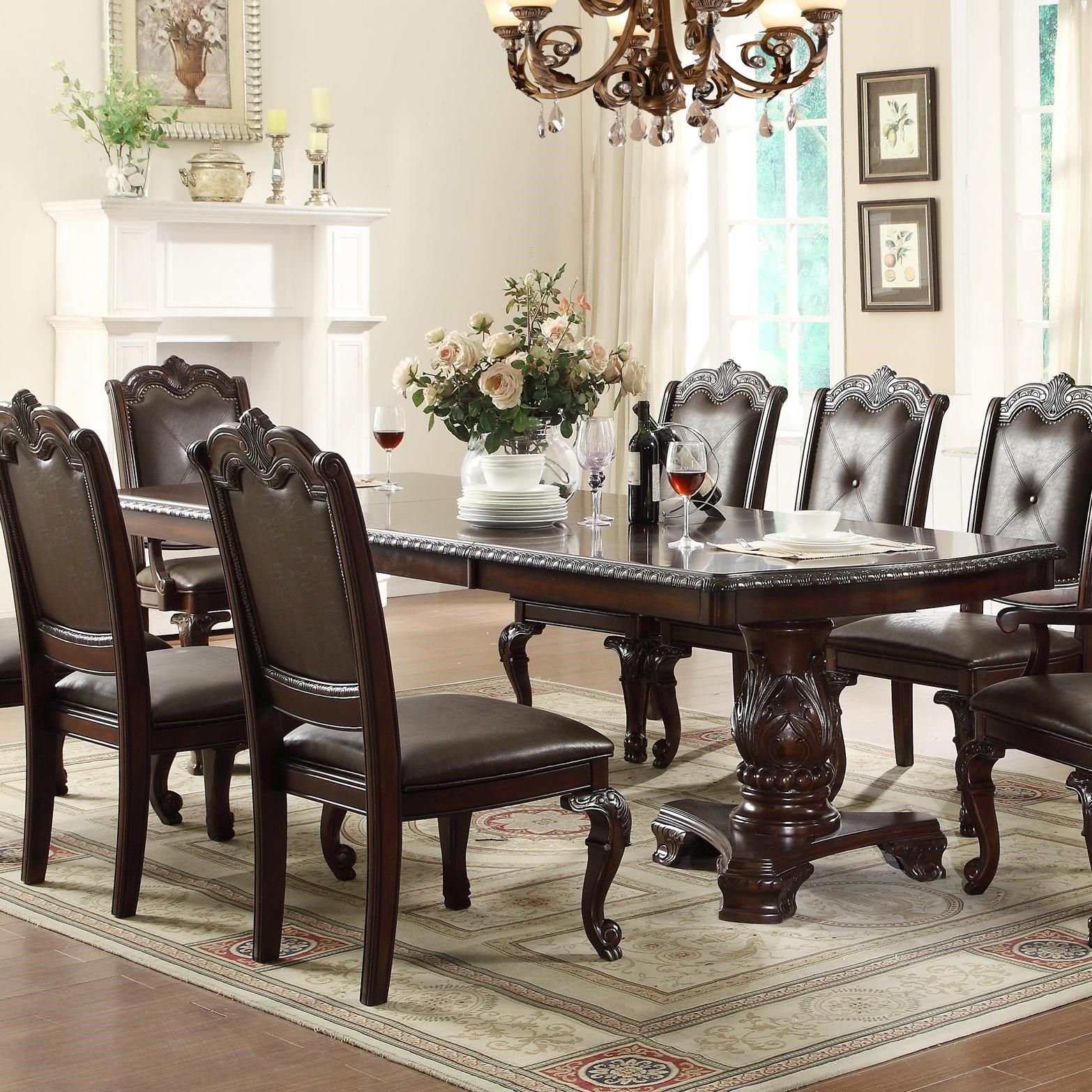 Traditional Wood Dining Tables crown mark kiera traditional double pedestal dining table