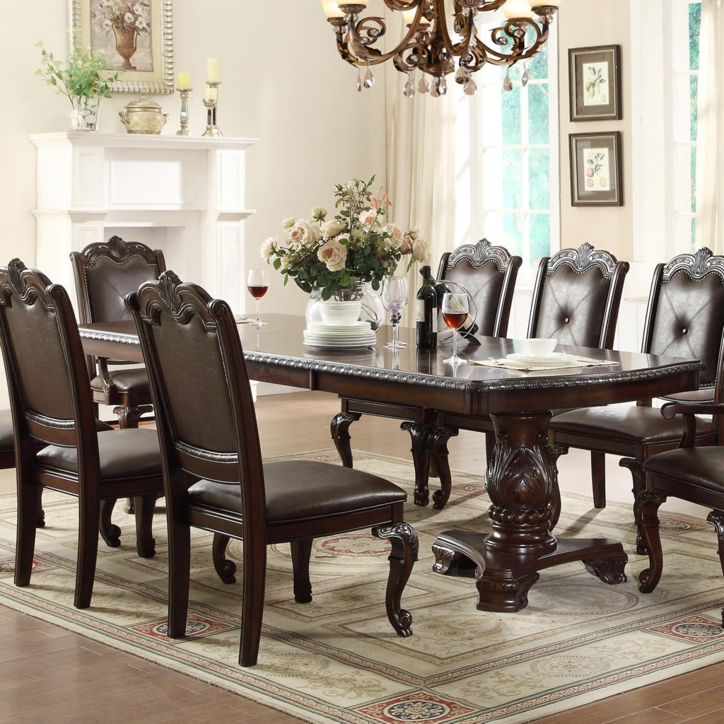crown mark kiera traditional double pedestal dining table - darvin