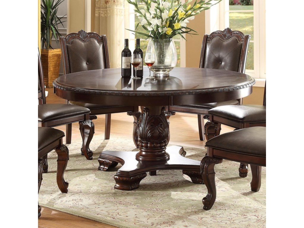 Crown Mark Kiera Traditional Round Dining Table Royal Furniture Kitchen Tables