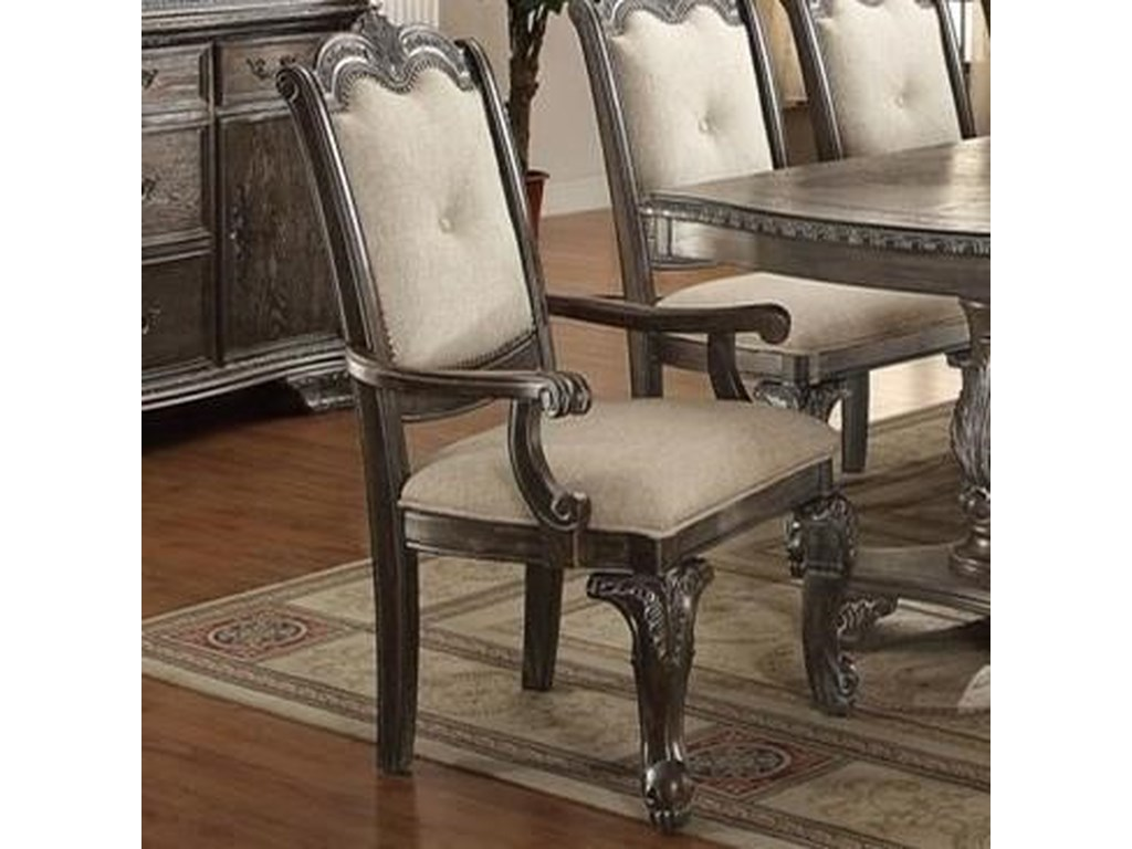 Kiera Traditional Dining Arm Chair with Upholstered Back and Seat by Crown  Mark at Household Furniture