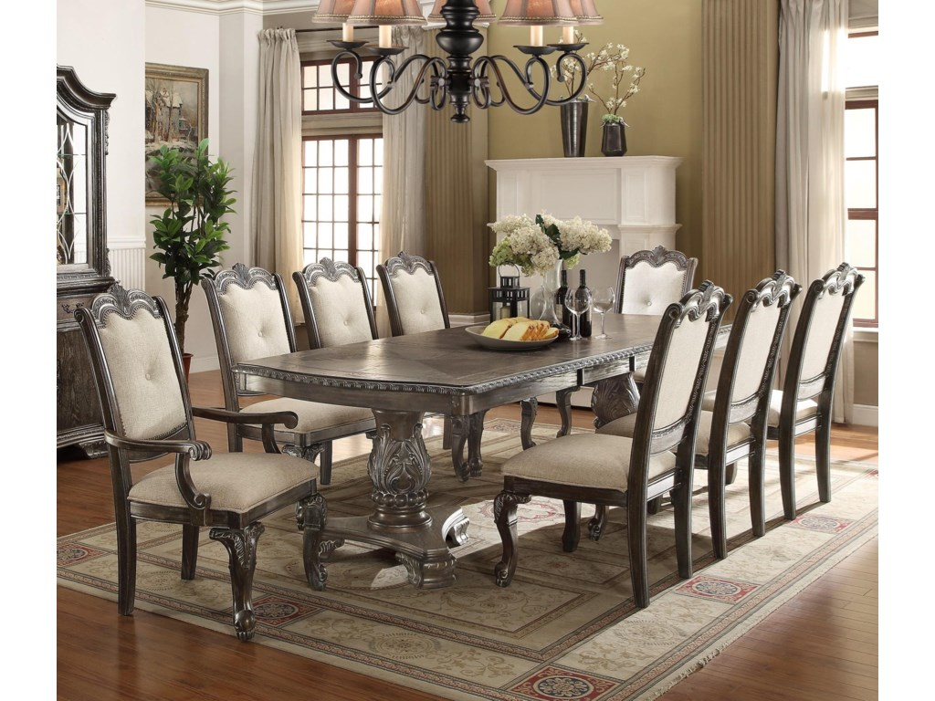 Crown Mark Kiera Traditonal Dining Table Set With 2 Arm Chairs And 6 Side