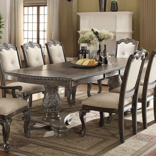 Crown mark kiera traditional double pedestal dining table dunk bright furniture dining tables