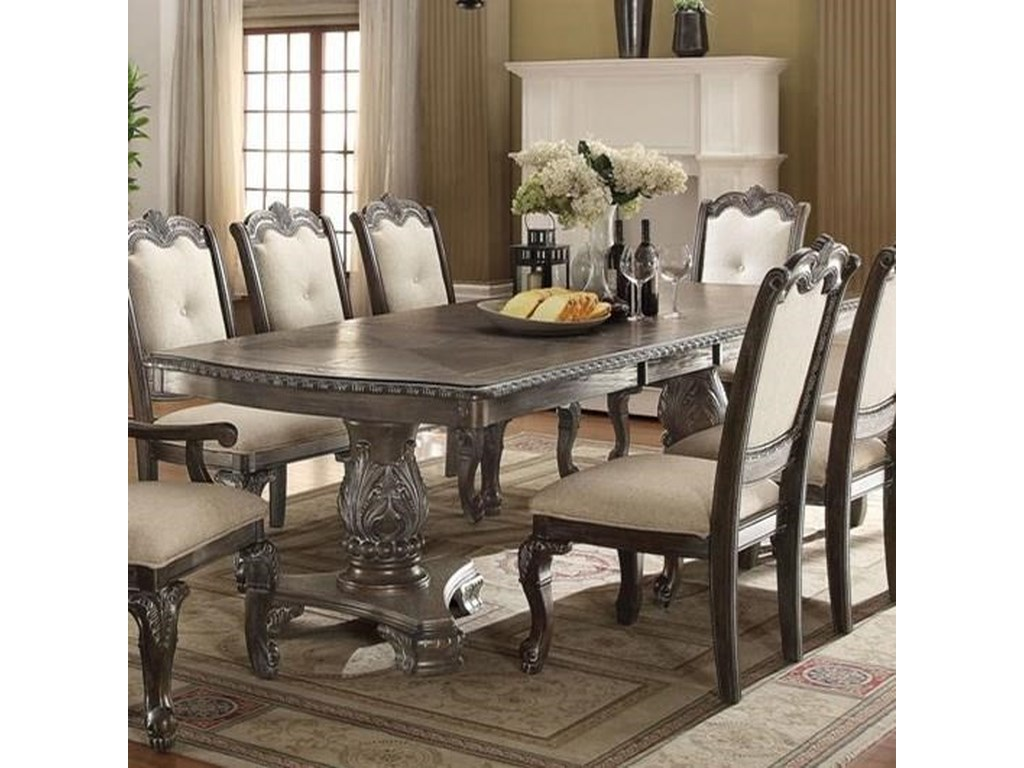 Kiera Traditional Double Pedestal Dining Table By Crown Mark At Household Furniture