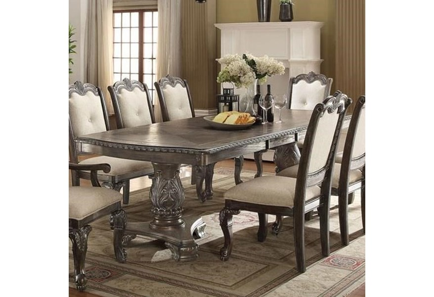 Kiera Traditional Double Pedestal Dining Table by Crown Mark at Dunk &  Bright Furniture