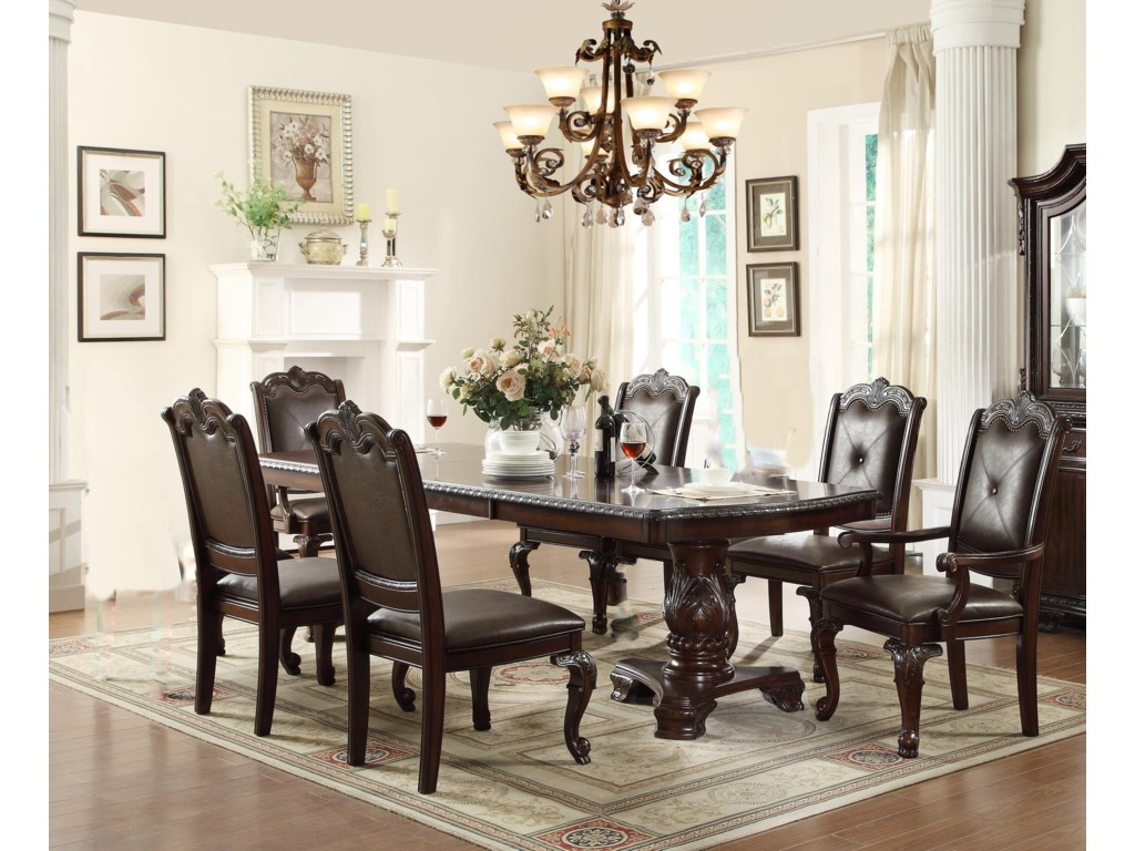 Crown Mark Kiera Dining Table With 4 Side Chairs And 2 Arm Chairs
