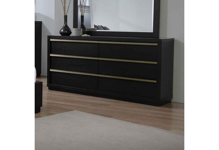 Lastra Contemporary 6-Drawer Dresser by Crown Mark at Dunk & Bright  Furniture