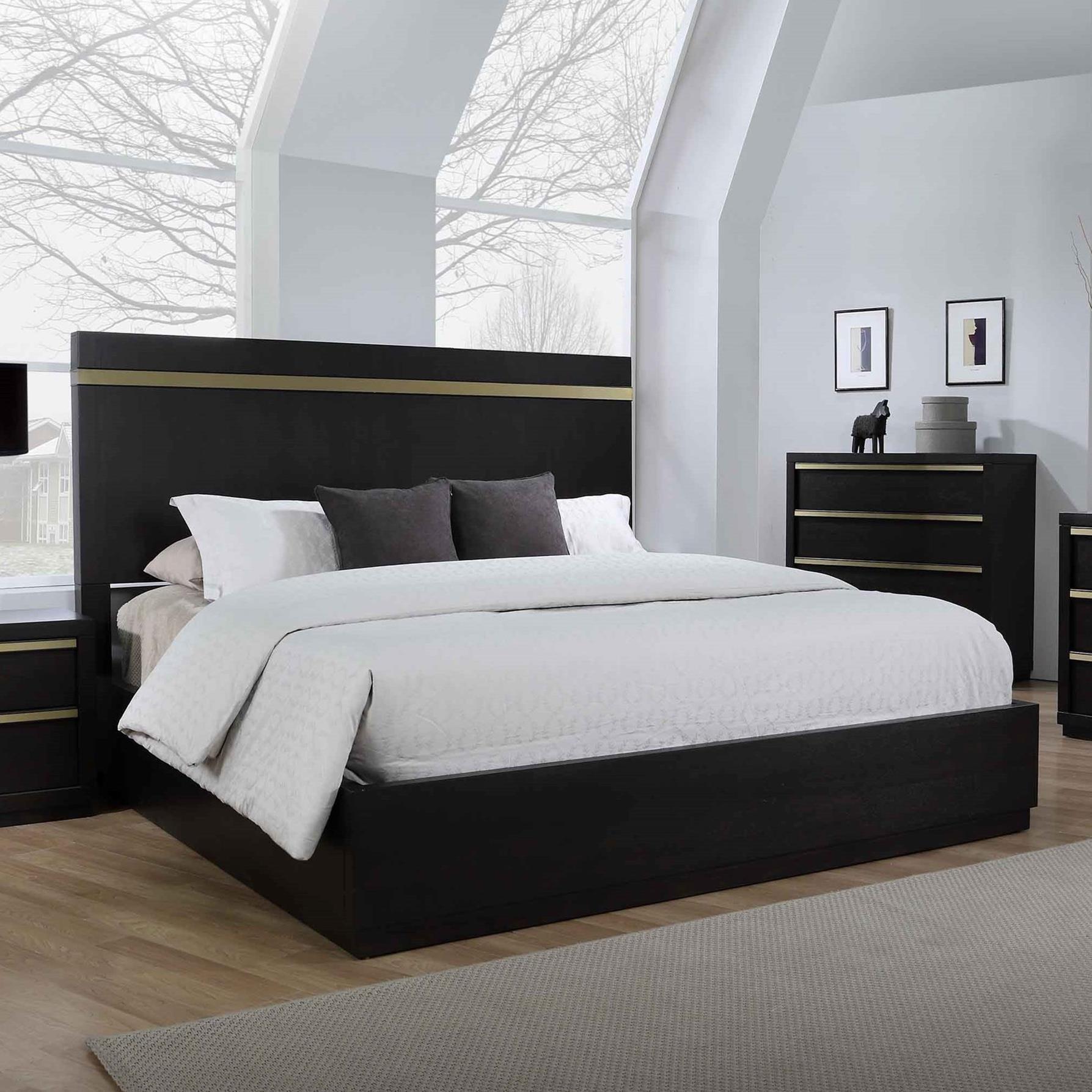 Picture of: Crown Mark Lastra Contemporary King Platform Bed Royal Furniture Platform Beds Low Profile Beds