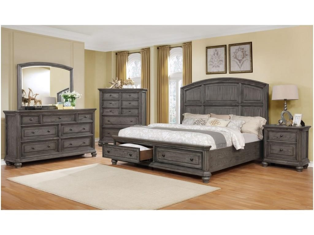 Crown Mark LavoniaKing Panel Bed with Storage Package