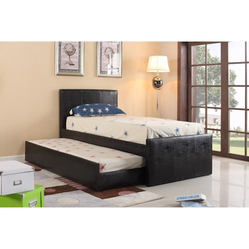 Crown Mark Leo Twin Headboard and Footboard Bed with Trundle