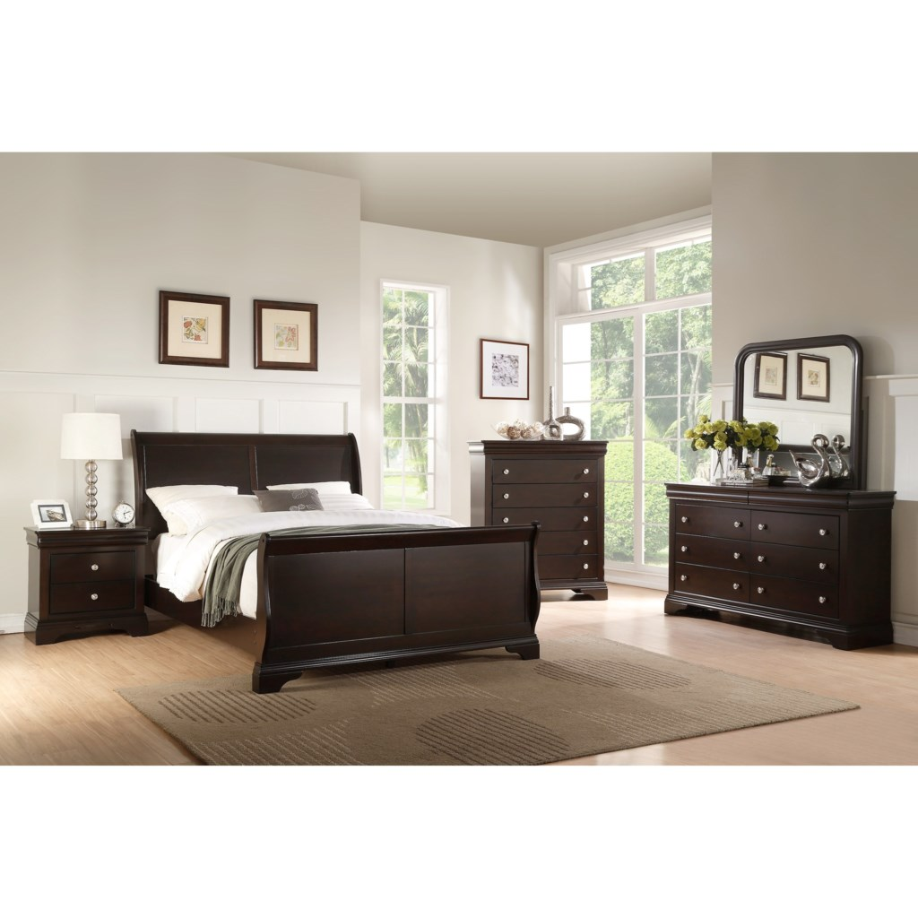 crown mark leopold traditional queen sleigh bed royal furniture