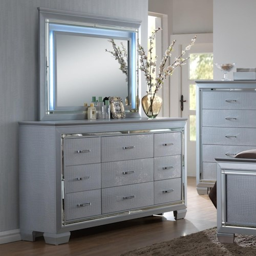 Crown Mark Lillian Dresser and Mirror Set with LED Backlight