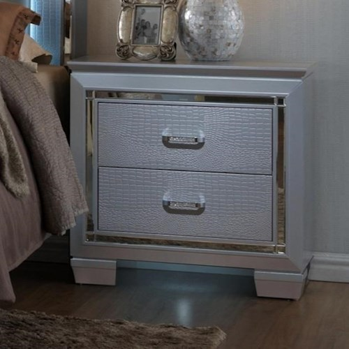 Crown Mark Lillian Glam Nightstand with Touch Night Light