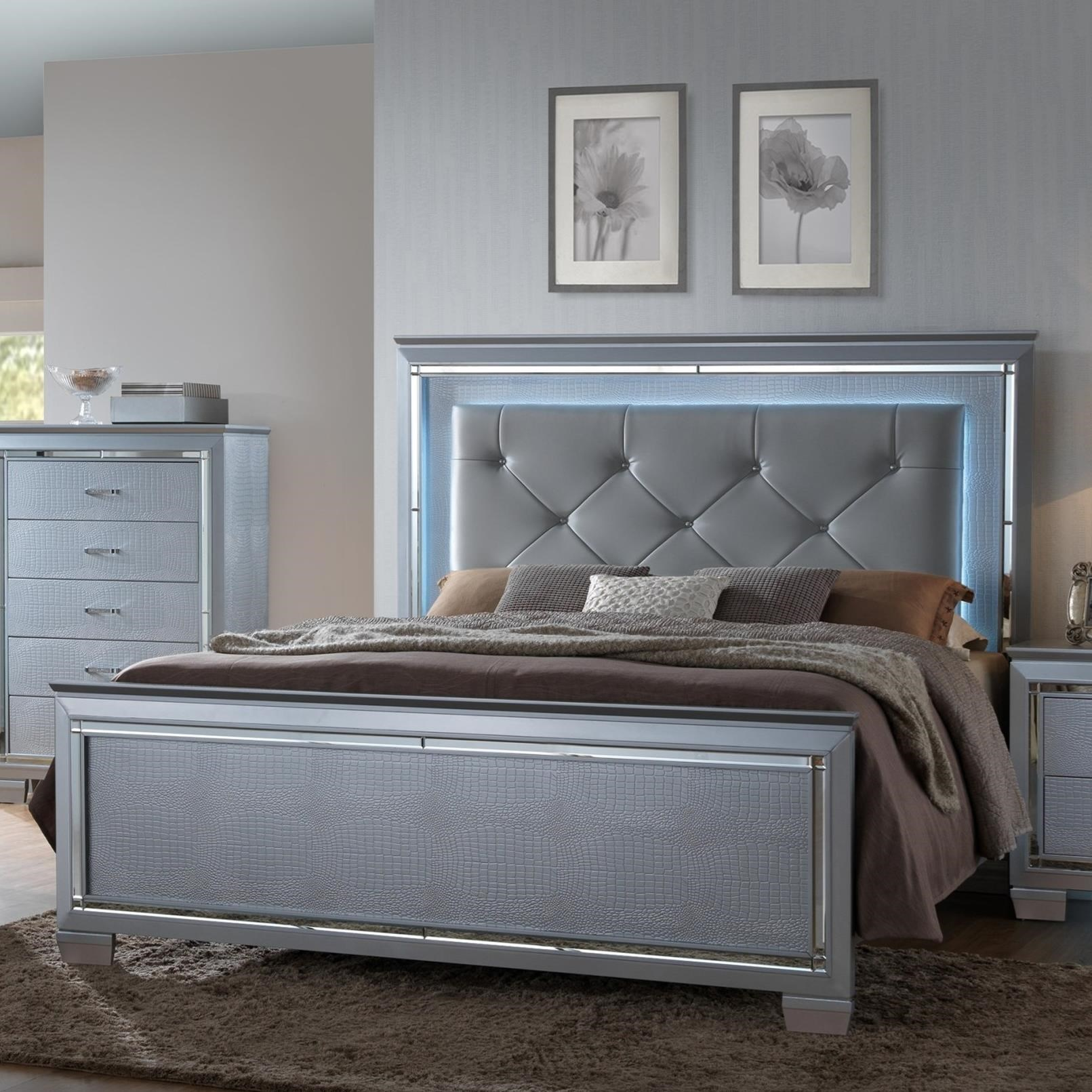 King Headboard and Footboard Bed with LED Backlighting