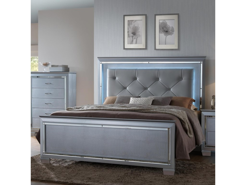 Crown Mark Lillian Queen Headboard and Footboard Bed with LED ...