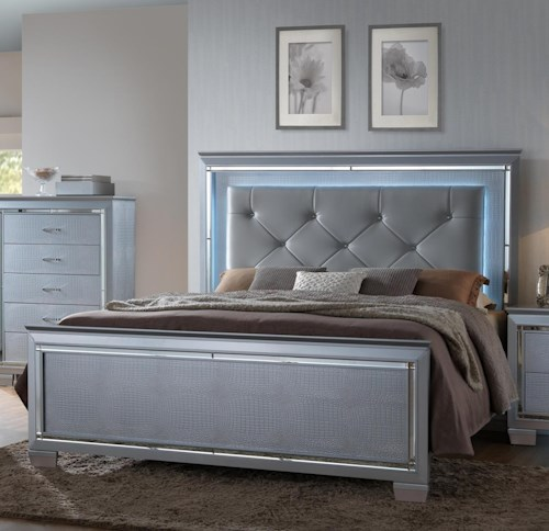 Crown Mark Lillian Queen Headboard and Footboard Bed with LED Backlighting