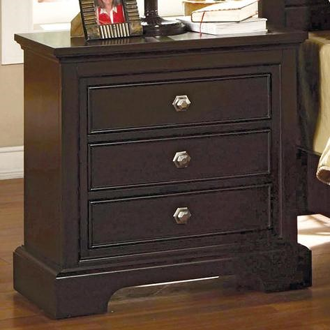 Crown Mark London 3 Drawer Night Stand