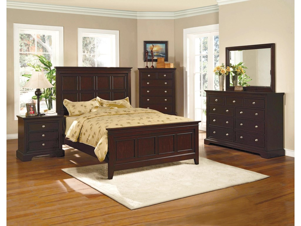 Shown with Coordinating Night Stand, Panel Bed, Dresser with Mirror Combination