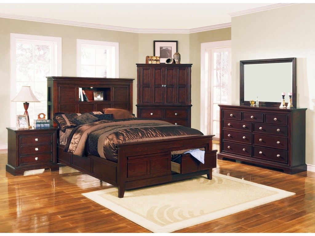 Shown with Coordinating Night Stand, Storage Bed, Dresser with Mirror Combination