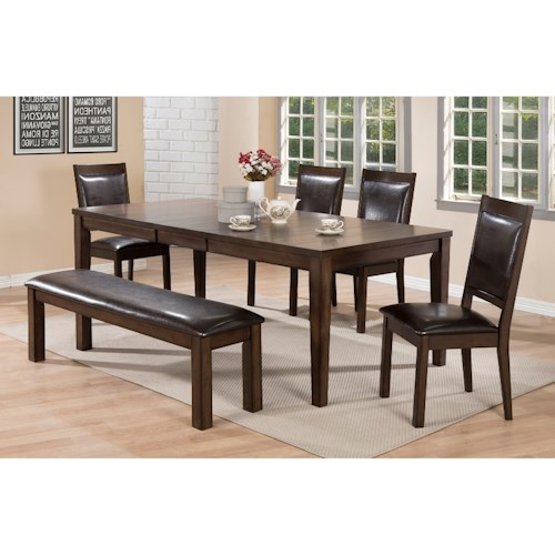 Crown Mark Lottie Dining Room Set with Upholstered Bench