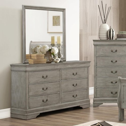 Crown Mark Louis Phillipe 6 Drawer Dresser Mirror Set