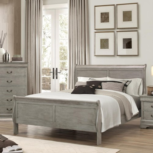 Crown Mark Louis Phillipe Twin Louis Philip Sleigh Bed