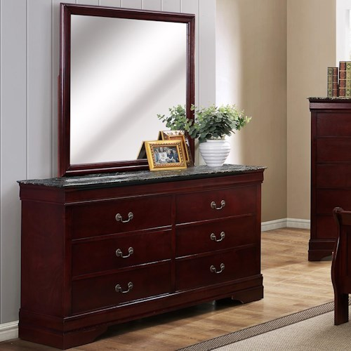 Crown Mark Louis Phillipe Traditional Dresser and Mirror Set