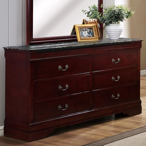 Crown Mark Louis Phillipe Six Drawer Dresser with Faux Marble